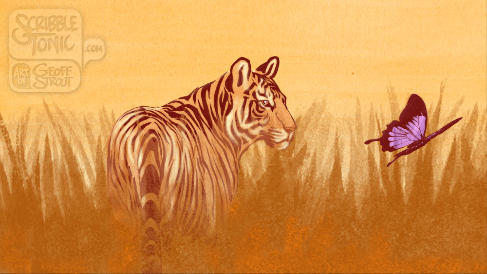 Tiger & Butterfly – Sunset
